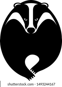 Black graphic silhouette, symbol, logo of forest predator animal badger running forward. Vector illustration, isolated on background for design, tattoo, business.