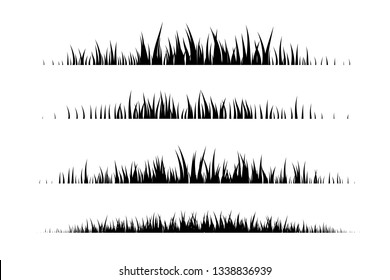 Black grass dividers. Vector decoration elements.