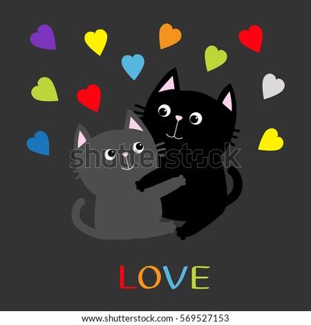 fc363b104c4 Black Gray Cat Hugging Couple Family Stock Vector (Royalty Free ...