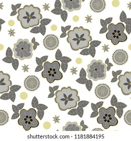 black gray and gold floral seamless vector pattern background