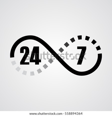 Black Gray Gradient Infinity Sign Twentyfour Stock Vector Royalty