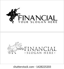 Black gray line art logo design vector illustration knight holding sword and ride a horse suitable for accounting financial team company business