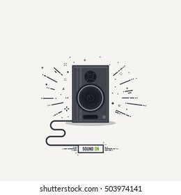 Black and gray loudspeaker with abstract sound waves. Thick lines and flat style illustration. Acoustic concept with cord and text button sound on.