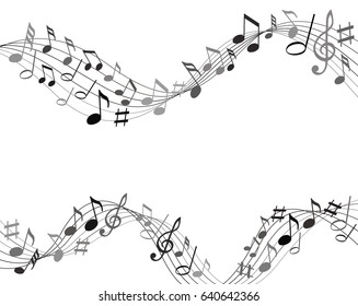 Black and gray music notes on a solide white background