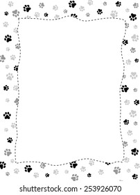 Black and gray paw prints pattern frame with empty white space on center