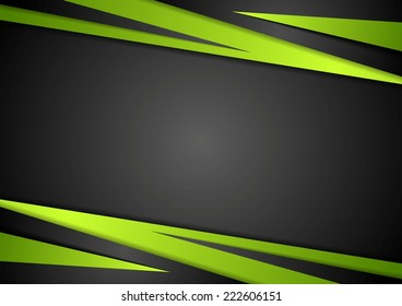 Black and green abstract design. Vector background