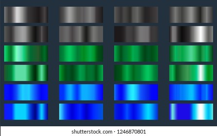 Black, green and blue metallic foil texture set. Collection of color gradients backgrounds. Vector illustration.