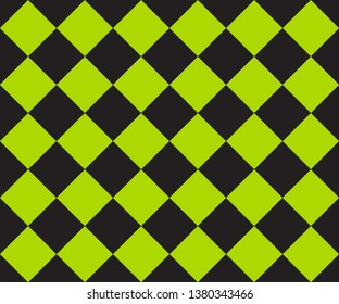 Black and green cage plaid. Ska background. Race flag. Vector seamless pattern