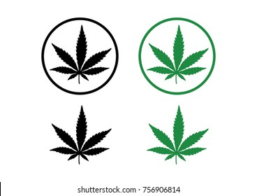 Black and Green Cannabis Leaf with Circle Illustration Logo Design