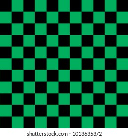Black and green checkered background. Background in a cage. Vector illustration