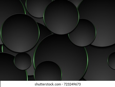 Black and green circles abstract tech background. Vector corporate design