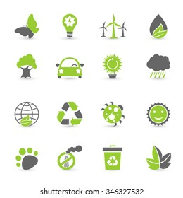 Black And Green Ecology Icon Set