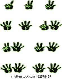 Black and green hands counting from 1 to 10 with fingers icon illustration vectors