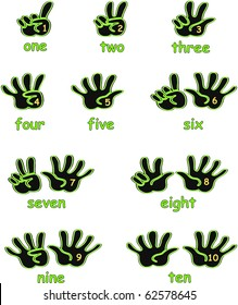 Black and green hands counting from 1 to 10 with fingers and numbers on the palm and the numbers in words below each hand icon illustration vectors