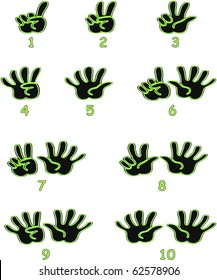 Black and green hands counting from 1 to 10 with fingers and numbers under each hand icon illustration vectors