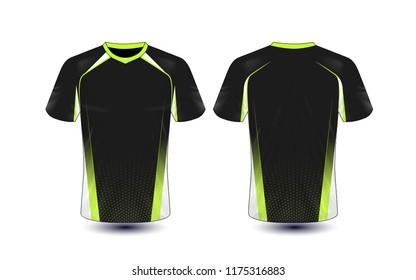 Black and green layout e-sport t-shirt design template