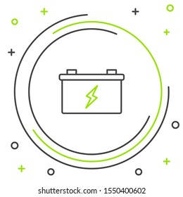Black and green line Car battery icon isolated on white background. Accumulator battery energy power and electricity accumulator battery. Colorful outline concept. Vector Illustration