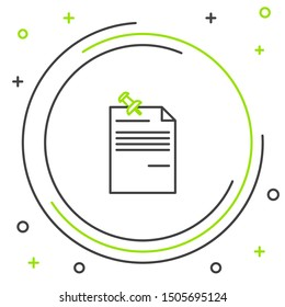 Black and green line Note paper with pinned pushbutton icon isolated on white background. Memo paper sign. Colorful outline concept. Vector Illustration