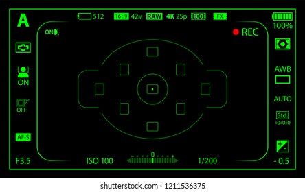 Black and green modern digital camera focusing screen with settings template. Black viewfinder mirrorless, DSLR or cameraphone camera recording. Vector illustration