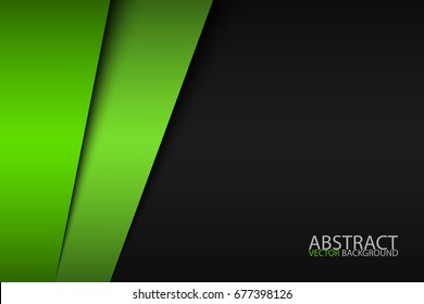 Black and green modern material design, corporate template for your business, vector abstract widescreen background