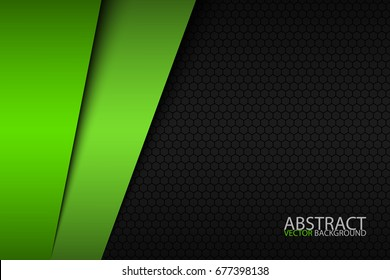 Black and green modern material design with a hexagonal pattern, corporate template for your business, vector abstract widescreen background