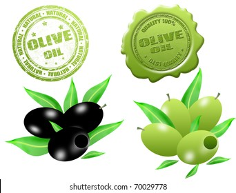 Black and green olives with grunge rubber stamp and sealing wax with text olive oil written inside