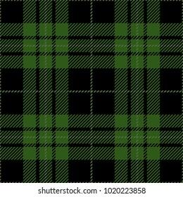Black and Green Tartan Plaid Scottish Pattern