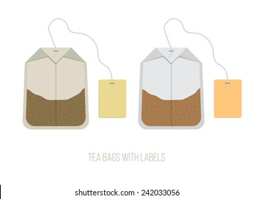 Black and Green Tea Bags Set with Labels, Vector Illustration