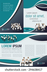 Black and green template for advertising brochure with business people