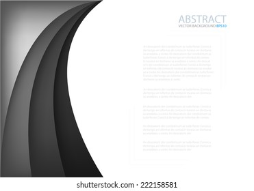 Black and grey background with dimension overlap layer curve on white space background for text and message design