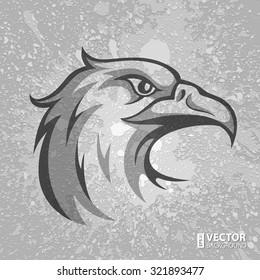 Black and grey eagle head logo on grey dirty plaster layers grunge splashes background. RGB EPS 10 vector illustration