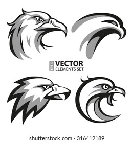 Black and grey eagle head logos set for business or shirt design. RGB EPS 10 vector illustration