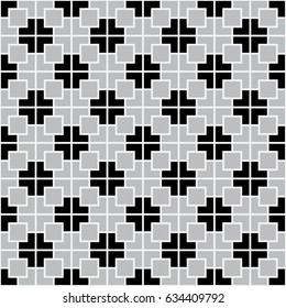 black and grey geometric seamless pattern background. Vector illustration.
