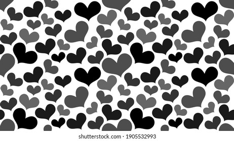 black and grey hearts on white background, many flat hearts, dark hearts, simple hearts shapes, seamless pattern