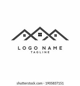 Black grey house real estate logo design