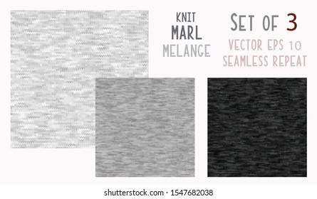Black Grey Marl Knit Melange. Heathered Texture Background. Faux Knitted Fabric.  T Shirt Wool Knitting Style. Seamless Vector Pattern. Two Tone Space Dye for Textile Effect. Vector EPS 10 Tile Repeat