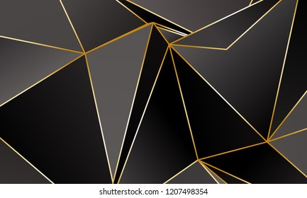Black and grey Premium background with luxury polygonal pattern and gold triangle lines. Low poly gradient shapes luxury gold lines vector. Black Friday background, premium triangle polygons  design