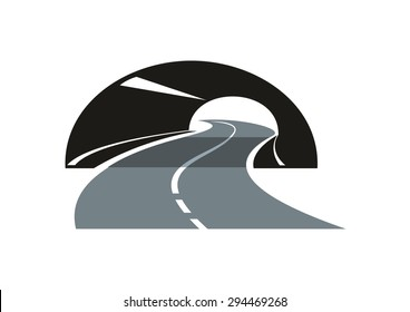 Black and grey stylized modern road icon with a tarred freeway winding through a tunnel