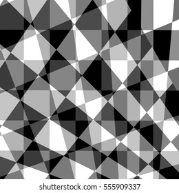 Black grey white abstract geometric background. Transparent vector background