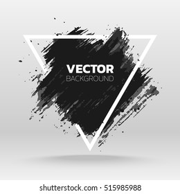 Black grunge abstract background template. Brush paint ink stroke design over triangle frame. Good for headline, logo, poster, message, sale banner.