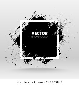 Black grunge abstract background template. Brush paint ink stroke design over square frame. Good for headline, logo, poster, message, sale banner.