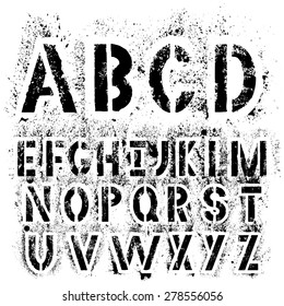 Black grunge alphabet for your design. Black letters isolated on white background.