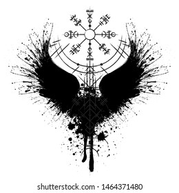 Black grunge bird wings silhouette with viking symbol isolated on white background