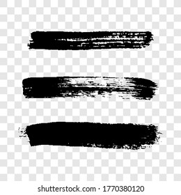 Black grunge brush strokes. Set of three painted ink stripes. Ink spot isolated on transparent background. Vector illustration
