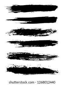 Black grunge brushes.Grunge paint lines.