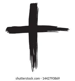Black grunge cross on white background