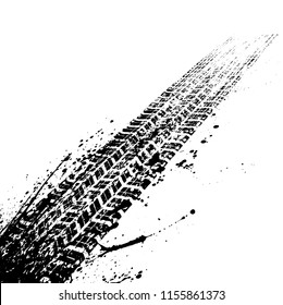 Black grunge ink blots tire track isolated on white background