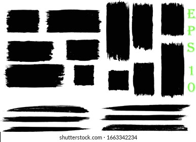 Black Grunge Paint Banners, set of rectangular paint splatters, grunge rough shapes. Box frame. Distressed badge. black paint hand made creative brush stroke