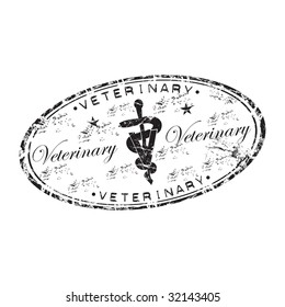 Black grunge rubber oval stamp with the veterinary symbol in the middle of the stamp