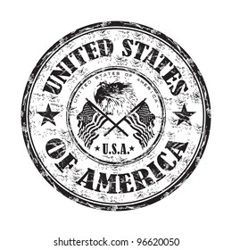 Black grunge rubber stamp with bald eagle between two american flags and the name of the United States of America written inside the stamp